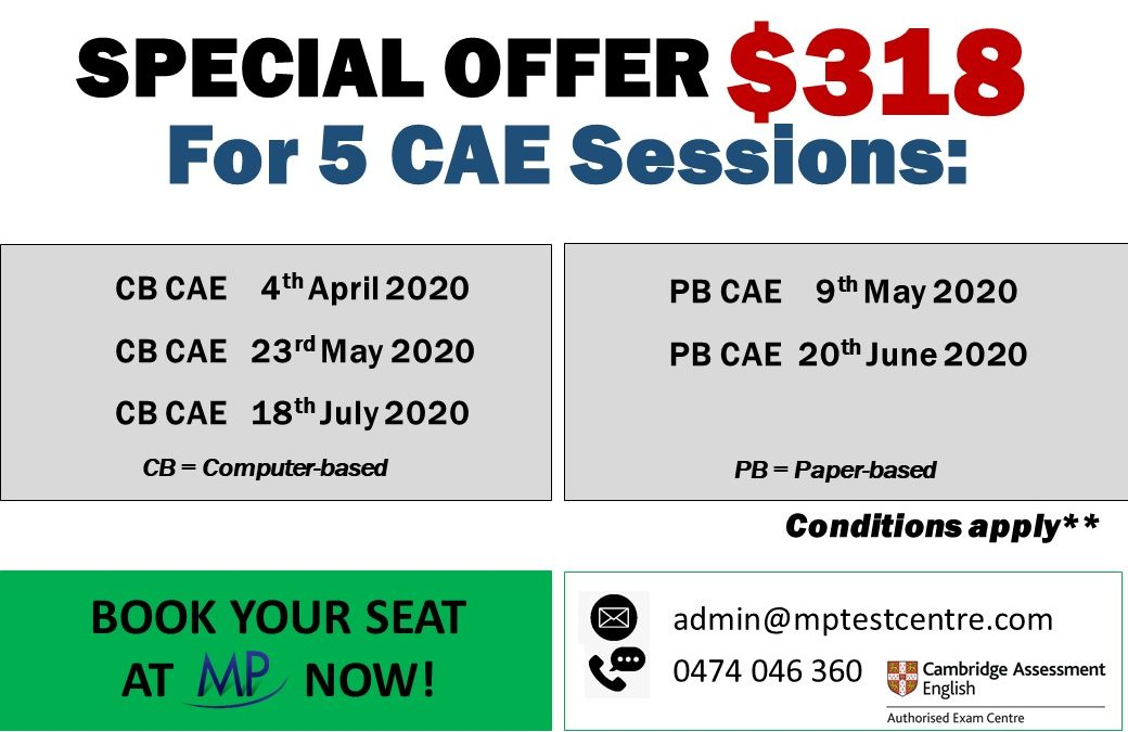 Special offer $318 for the following 5 CAE Sessions